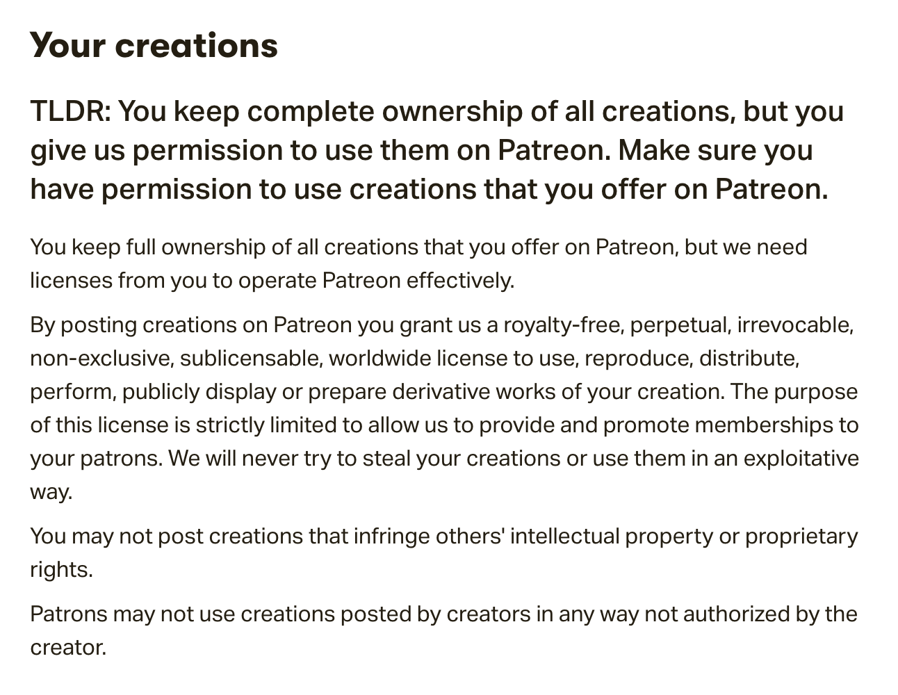 Terms Of Use >> I Grant Patreon A License To Do What With My Creations